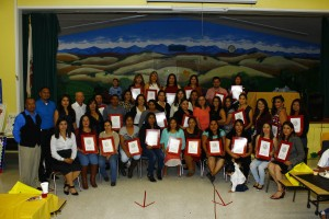 At the end of Quarter 1 celebration, students proudly show their diplomas awarded by Senator Jim Beall.