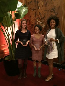 Angela Johnston ('14), Jasmin Lopez ('14), and Leila Day accept awards from the Northern California Society of Professional Journalists.
