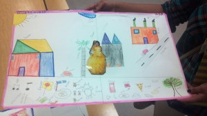 "Here is a students' work for a unit on Frida Kahlo's ""Standing on the Border Between the US and Mexico."""