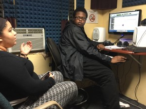 Sierra Hutchinson and Dre Emerson work on Storycorps about the first gay single man adoption: Bill Jones.