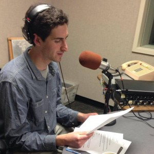 Eli Wirtschafter records voice tracks for his first story at KALW - photo by Angela Johnston.