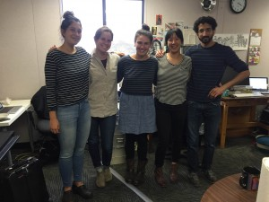 Hannah Kingsley-Ma ('15), Angela Johnston, Ninna Gaensler-Debs, Jen Chien, and Raja Shah ('15) show their stripes in the news department.
