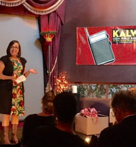 Julie Caine, KALW News Managing Director, speaks the the Audio Academy graduation class.