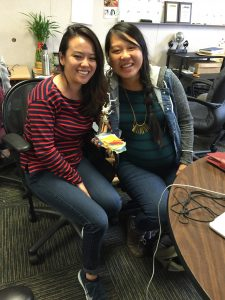 "Summer volunteers Justine Lee and mom-to-be Bonnie Chan won an award for ""Most Best 2.5 Women."""